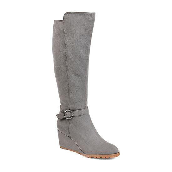 Journee Collection Womens Veronica Dress Wedge Heel Zip Boots