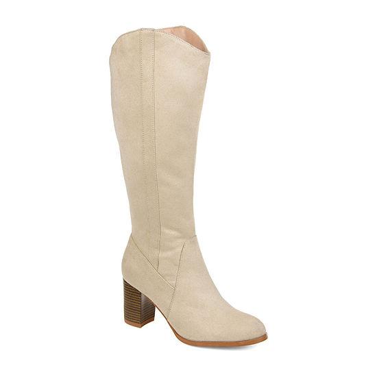 Journee Collection Womens Parrish Wide Calf Dress Stacked Heel Zip Boots