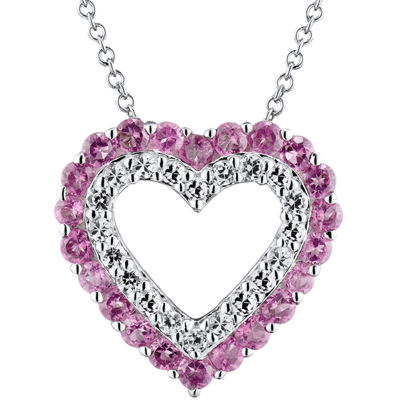 Genuine Amethyst & Lab-Created White Sapphire Heart Sterling Silver Necklace