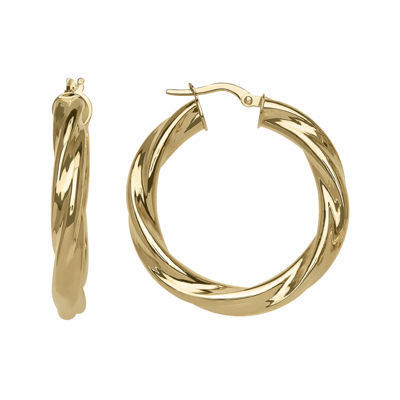 14K Yellow Gold  25mm Twist Hoop Earrings