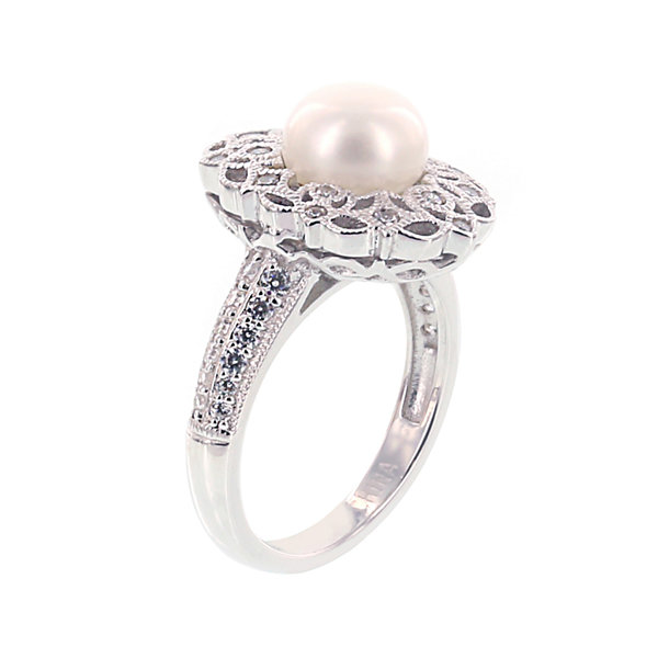 DiamonArt® Cubic Zirconia and Cultured Freshwater Pearl Sterling Silver Ring