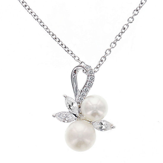 DiamonArt® Cubic Zirconia Cultured Freshwater Pearl Sterling Silver Pendant Necklace