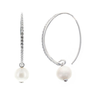 DiamonArt® Cubic Zirconia Cultured Freshwater Pearl Sterling Silver Hoop Earrings