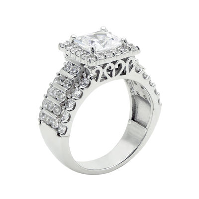 DiamonArt® Cubic Zirconia Sterling Silver  Frame Ring