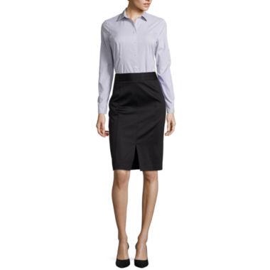 jcpenney.com   Worthington® Long-Sleeve Button-Front Shirt or Sateen Skirt