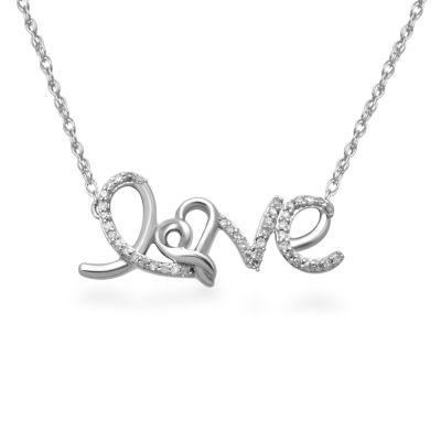Hallmark Diamonds Womens 1/7 CT. T.W. Genuine White Diamond Sterling Silver Heart Pendant Necklace