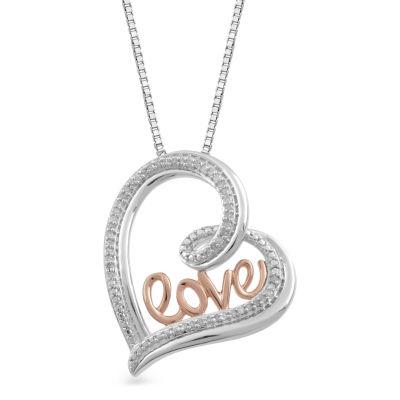 Womens 1/10 CT. T.W. White Diamond 14K Gold Over Silver Pendant Necklace