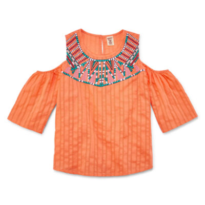 Arizona Girls Cold Shoulder Woven Top - Girls' 7-16 and Plus