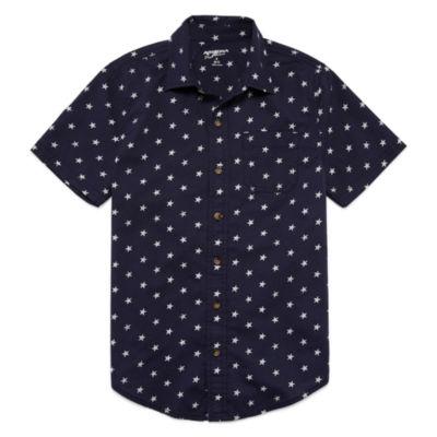 Arizona Boys Short Sleeve Button-Front Shirt Boys 8-20