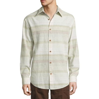 Island Shores Mens Long Sleeve Striped Button-Front Shirt