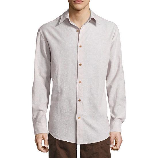 Island Shores Mens Long Sleeve Button-Front Shirt