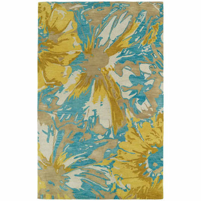 Kaleen Brushstrokes Floral Hand-Tufted Wool Rectangular Rug