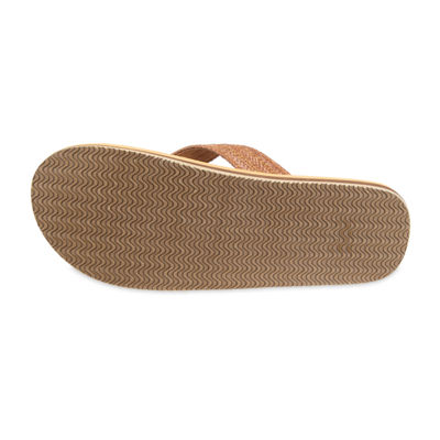 St. John's Bay™ Straw Braided Stitch Strap Flip Flops
