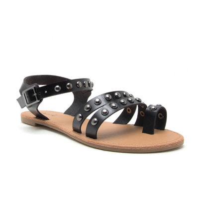 Qupid Womens Athena-1324 Ankle Strap Flat Sandals