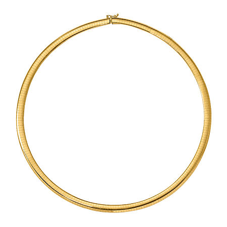 14K Gold 18 Inch Solid Omega Chain Necklace, One Size