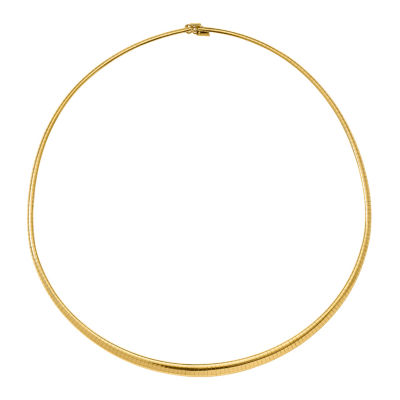 14K Gold 16 Inch Semisolid Omega Chain Necklace