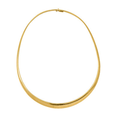 14K Gold 18 Inch Semisolid Omega Chain Necklace