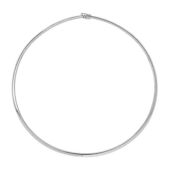 14K White Gold 16 Inch Solid Omega Chain Necklace