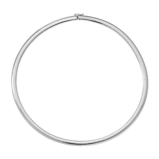 14K White Gold 18 Inch Solid Omega Chain Necklace