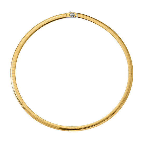 14K Two Tone Gold 16 Inch Semisolid Omega Chain Necklace