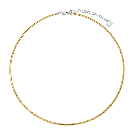14K Two Tone Gold 18 Inch Semisolid Omega Chain Necklace