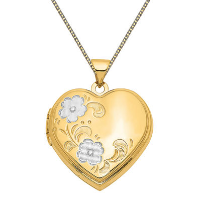 Womens 14K Two Tone Gold Heart Locket Necklace
