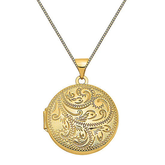 Womens 14K Gold Round Locket Necklace