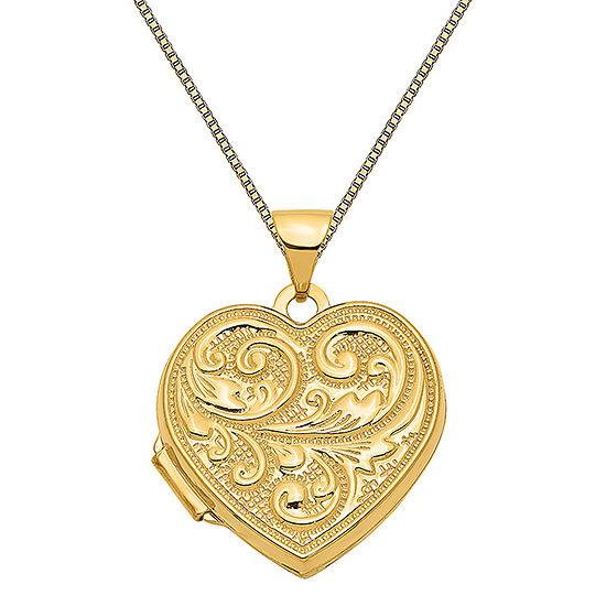 Womens 14K Gold Heart Locket Necklace