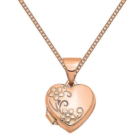 Womens 14K Rose Gold Heart Locket Necklace