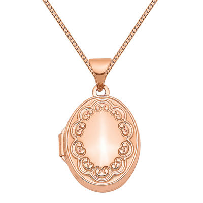 Womens 14K Rose Gold Oval Locket Necklace