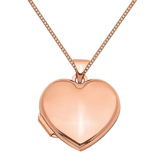 Womens 14K Rose Gold Heart Locket Necklace