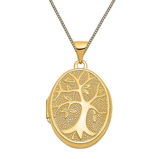 Womens 14K Gold Oval Locket Necklace