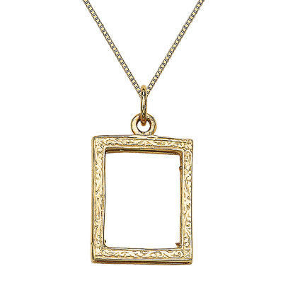 Womens 14K Gold Square Locket Necklace