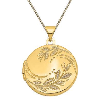Womens 14K Gold Round Locket Necklace