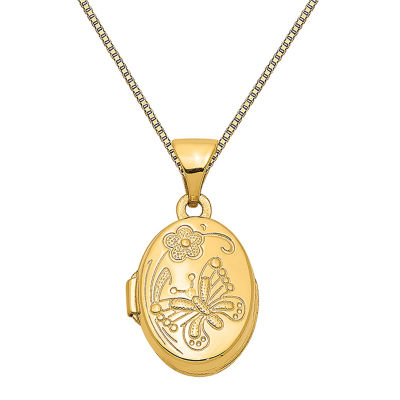 Womens 14K Gold Butterfly Locket Necklace