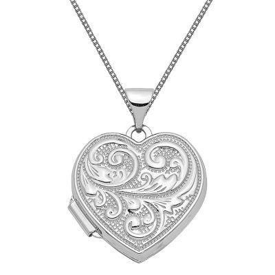 Womens 14K White Gold Heart Locket Necklace