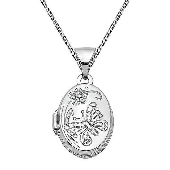 Womens 14k White Gold Oval Locket Necklace