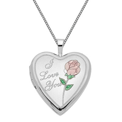 Womens 14K White Gold Heart Locket Necklace