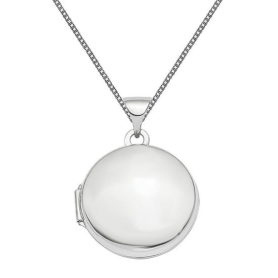 Womens 14K White Gold Round Locket Necklace