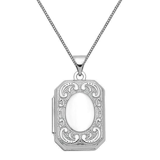 Womens 14K White Gold Locket Necklace
