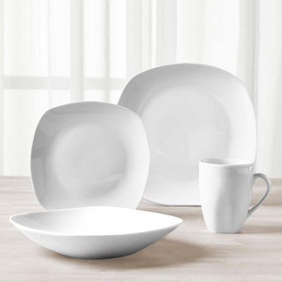 Tabletops Unlimited® Quinto White Porcelain Square 16-pc. Dinnerware Set