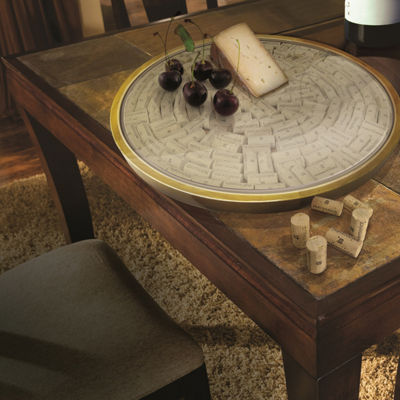 Vinotemp Lazy Susan Cork Display Kit Serving Tray
