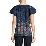 St. John's Bay Womens Split-Crew Neck Short Sleeve Poplin Floral Blouse
