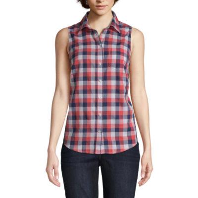 St. John's Bay Womens Sleeveless Button-Front Shirt