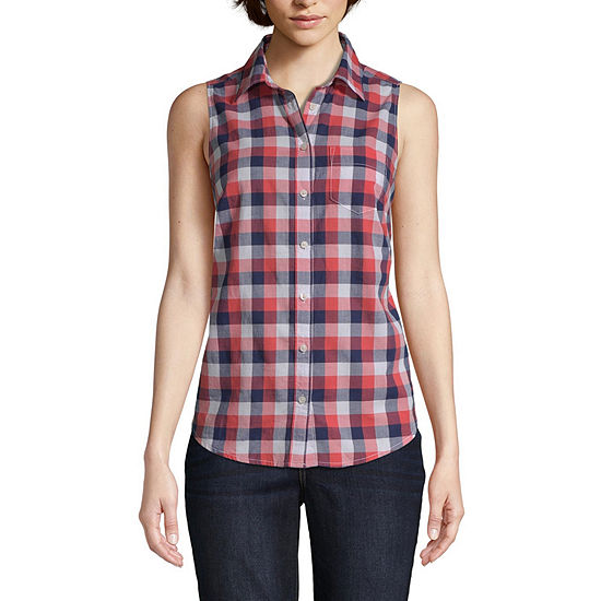 St. John's Bay Womens Sleeveless Button-Front Shirt