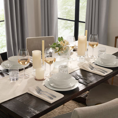 Fieldcrest Luxury Cotton-Linen Herringbone Table Runner