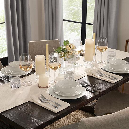 Fieldcrest Luxury Cotton-Linen Herringbone Table Runner