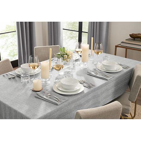 Fieldcrest Luxury Cotton-Linen Herringbone Tablecloth, One Size , Gray