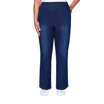 Alfred Dunner Denim Friendly- Womens Straight Flat Front Pant