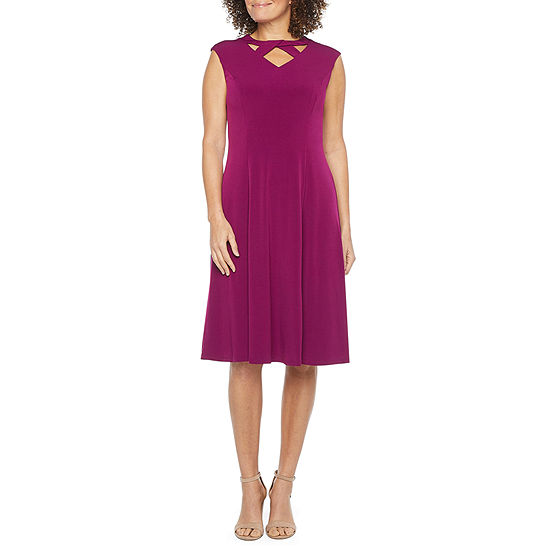 London Times Cap Sleeve Fit & Flare Dress